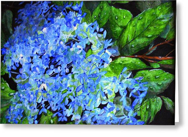 Blue Hydrangea After The Rain Greeting Card by June Holwell