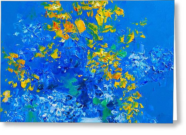 Blue Hydrangeas And Golden Chain Flowers Greeting Card by Jan Matson