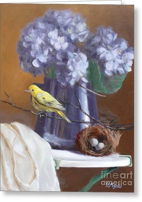 Blue Hydrangeas And Yellow Finch Greeting Card by Viktoria K Majestic