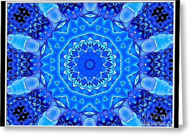 Greeting Card featuring the photograph Blue Hydrangeas Flower Kaleidoscope by Rose Santuci-Sofranko