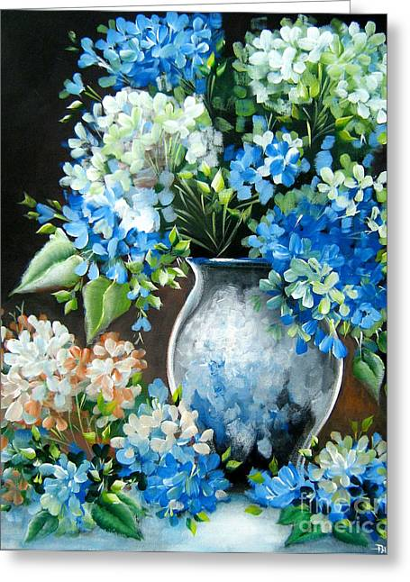 Greeting Card featuring the painting Blue Hydrangeas by Patrice Torrillo