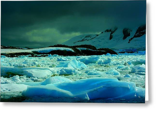 Greeting Card featuring the photograph Blue Ice Flow by Amanda Stadther