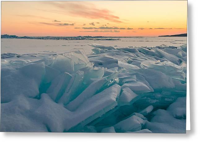 Blue Ice Sunset Greeting Card