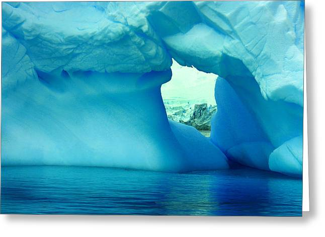 Blue Iceberg Antarctica Greeting Card by Amanda Stadther