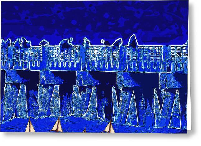 Blue II Toy Sailboats In Lake Worth Greeting Card by David Mckinney