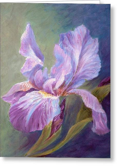 Blue Indigo Iris Greeting Card by Irene Hurdle