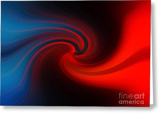 Greeting Card featuring the digital art Blue Into Orange by Trena Mara