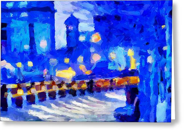 Blue January Night In The City Tnm Greeting Card by Vincent DiNovici