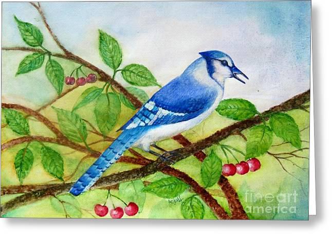 Blue Jay Greeting Card by Anjali Vaidya