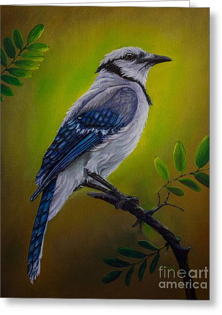 Blue Jay Painting Greeting Card by Zina Stromberg