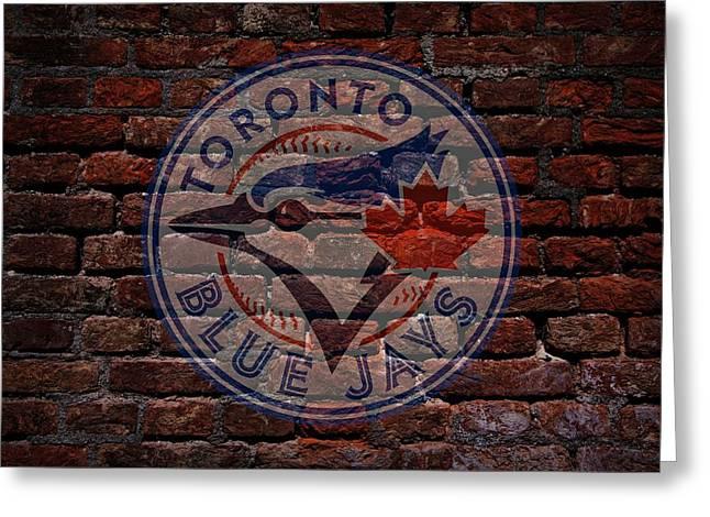 Blue Jays Baseball Graffiti On Brick  Greeting Card