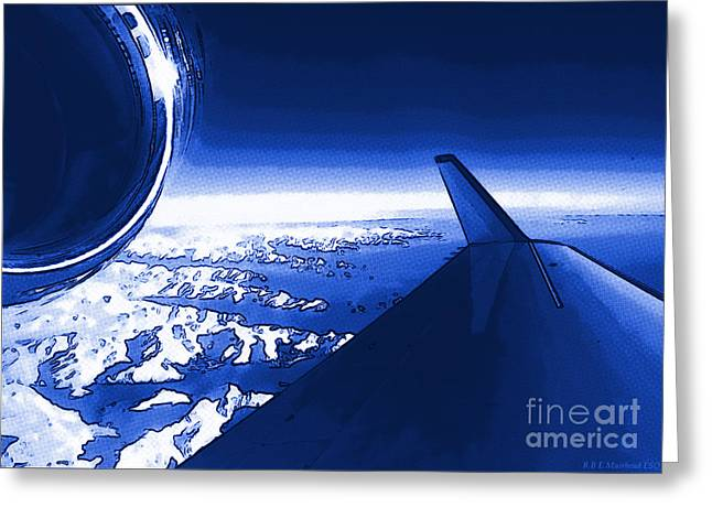 Blue Jet Pop Art Plane Greeting Card by R Muirhead Art
