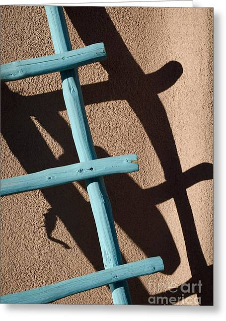 Blue Ladder And Shadow Greeting Card