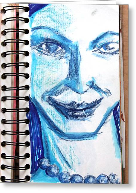 Blue Lady From A Sketchbook Greeting Card