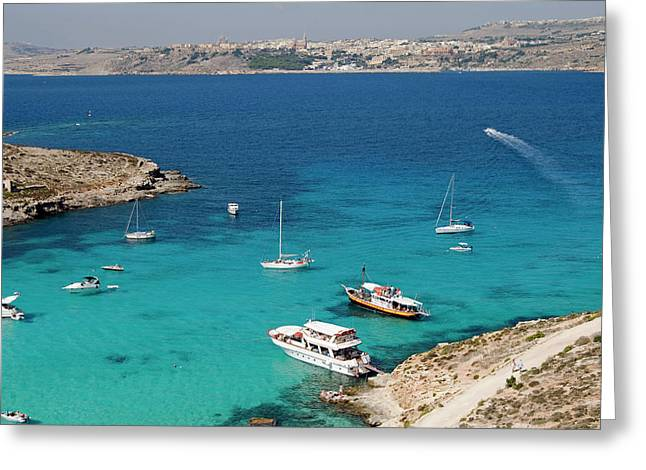 Blue Lagoon, Aerial View, Comino Greeting Card by Nico Tondini