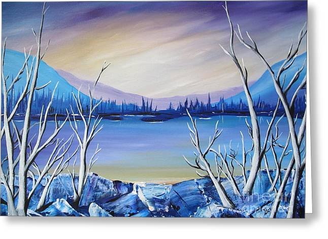 Blue Lake Greeting Card by Beverly Livingstone