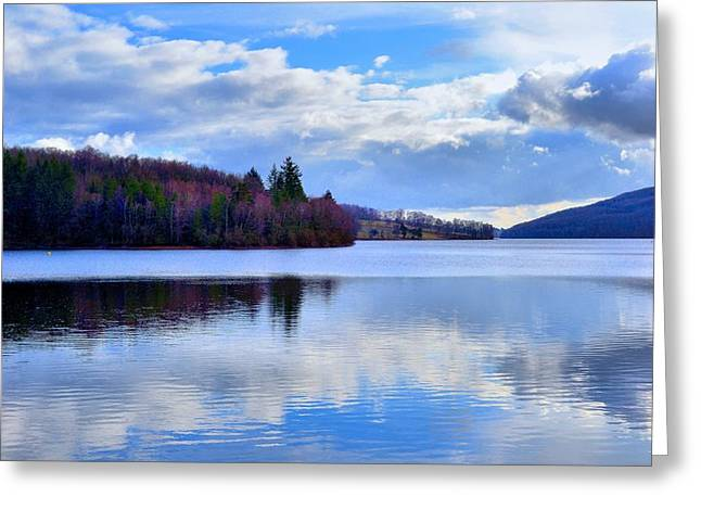 Blue Lake Greeting Card by Dave Woodbridge