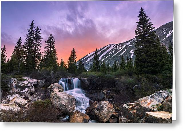 Blue Lakes Falls Greeting Card by Michael J Bauer