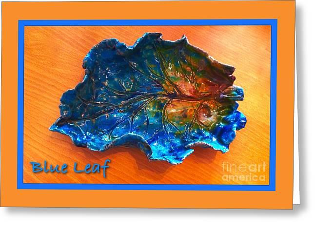Blue Leaf Ceramic Design 3 Greeting Card by Joan-Violet Stretch