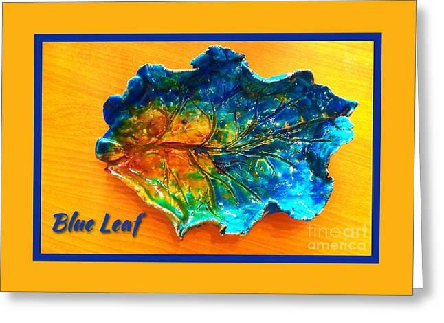Blue Leaf Ceramic Design Greeting Card by Joan-Violet Stretch