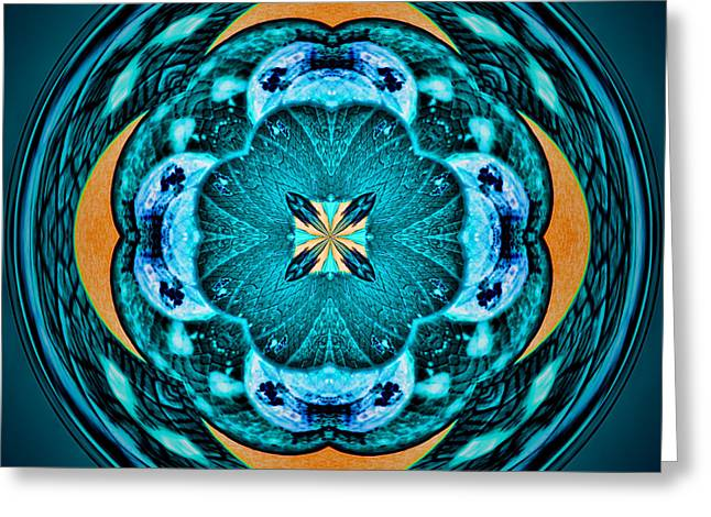Blue Leaf Mandala Kaleidoscope Greeting Card