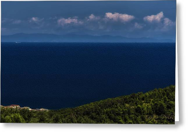 Greeting Card featuring the photograph Blue Liguria by Enrico Pelos