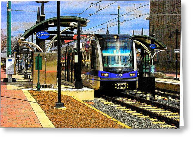 Greeting Card featuring the photograph Blue Line by Rodney Lee Williams