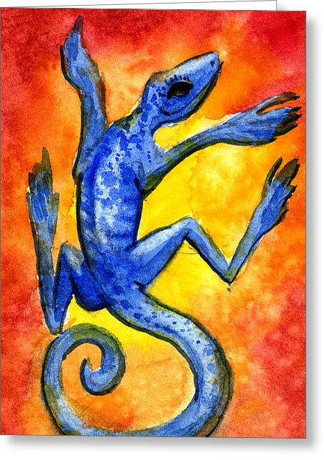 Greeting Card featuring the painting Blue Lizard by Sean Seal