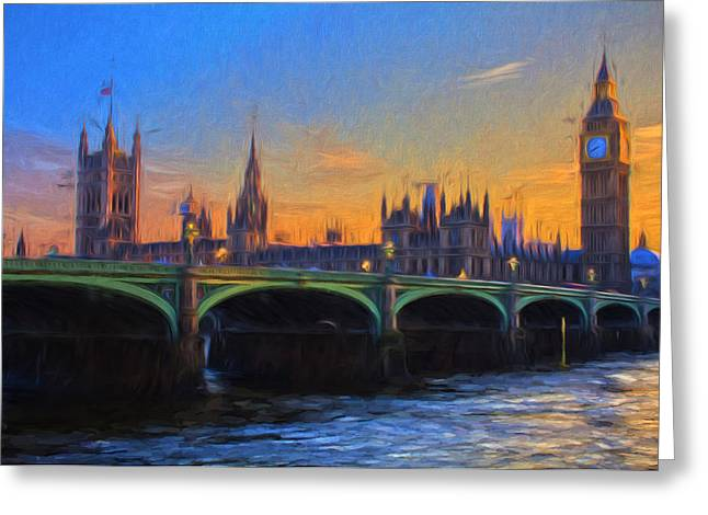 Greeting Card featuring the painting Blue London by Douglas MooreZart