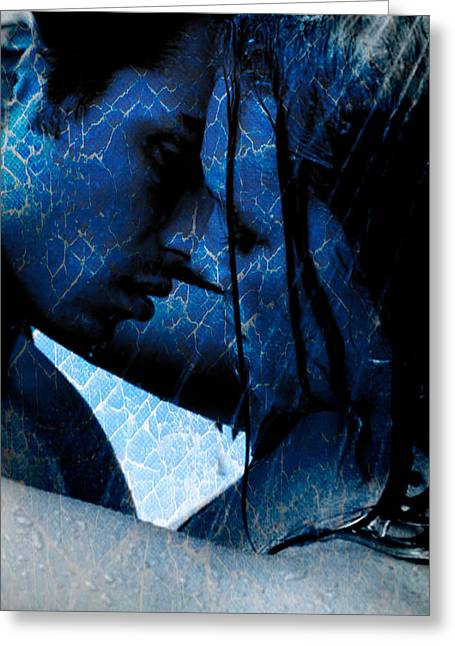 Blue Lovers Greeting Card by Teri Schuster