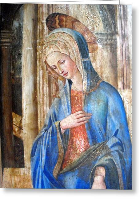 Blue Madonna Greeting Card by Anonymous