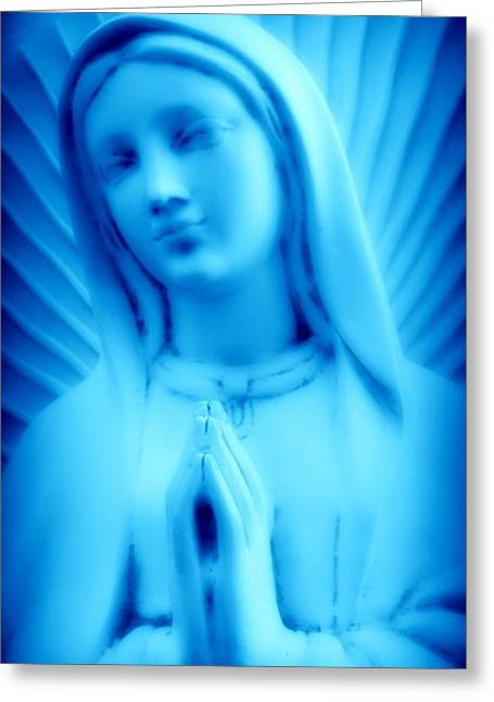 Blue Madonna Greeting Card