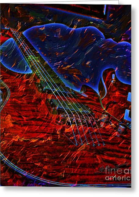 Blue Magic Digital Guitar Art By Steven Langston Greeting Card by Steven Lebron Langston