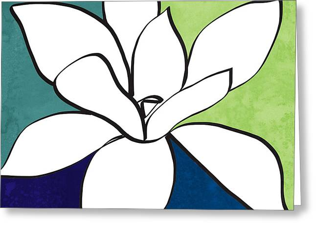 Blue Magnolia 1- Floral Art Greeting Card by Linda Woods