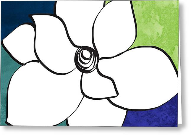 Blue Magnolia 2- Floral Art Greeting Card by Linda Woods