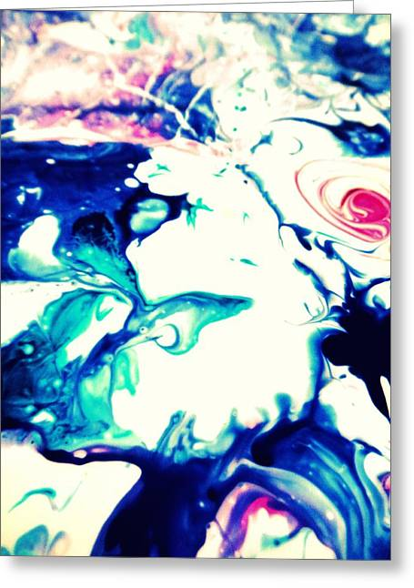 Blue Marble Greeting Card by Mlle Marquee
