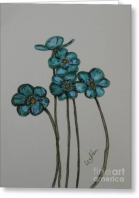 Blue Greeting Card by Marcia Weller-Wenbert