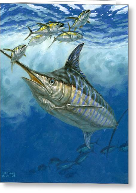 Blue Marlin And Yellowfin Tuna Greeting Card by Don  Ray