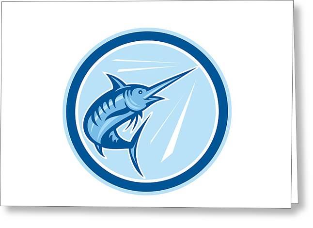 Blue Marlin Fish Jumping Circle Cartoon Greeting Card by Aloysius Patrimonio