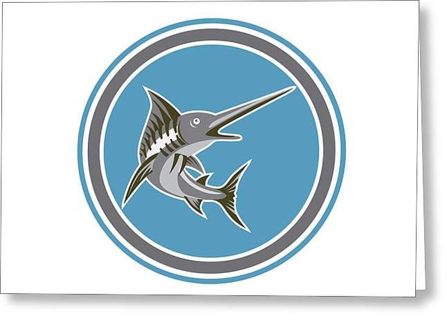 Blue Marlin Fish Jumping Circle Retro Greeting Card by Aloysius Patrimonio