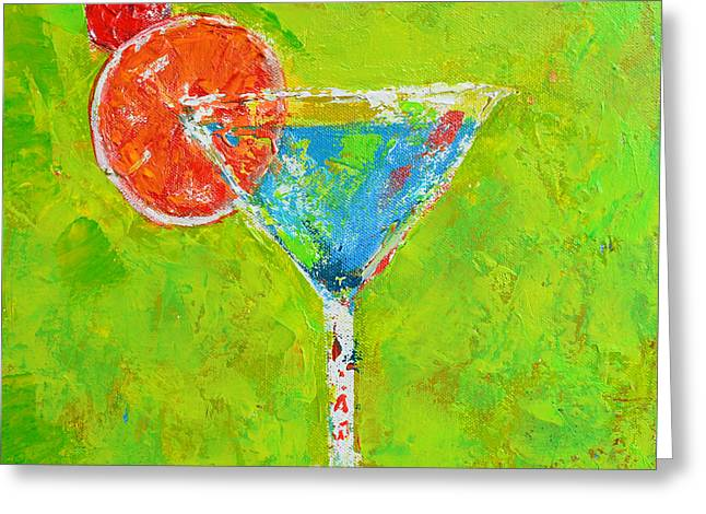 Blue Martini - Cherry Me Up - Modern Art Greeting Card by Patricia Awapara