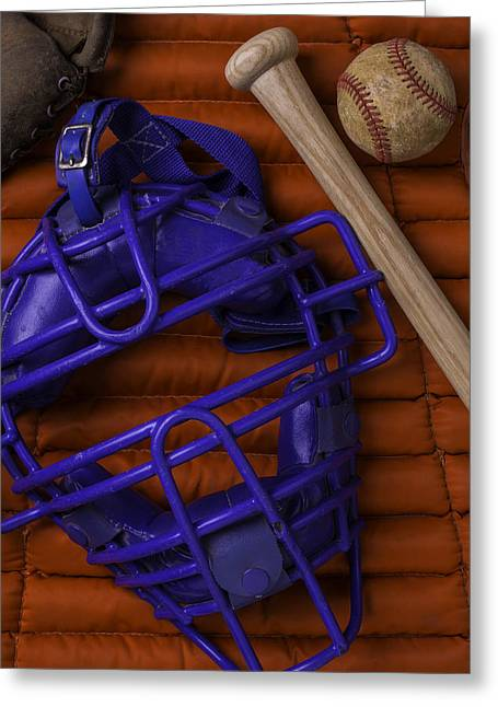 Blue Mask With Bat And Ball Greeting Card by Garry Gay