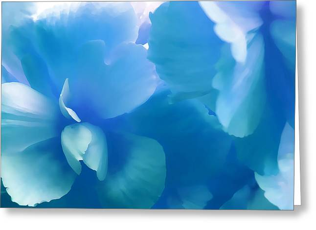 Blue Melody Begonia Floral Greeting Card by Jennie Marie Schell