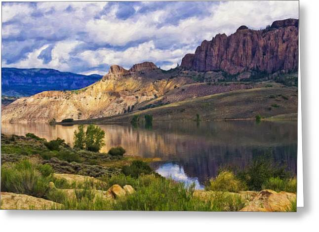 Blue Mesa Reservoir Digital Painting Greeting Card by Priscilla Burgers