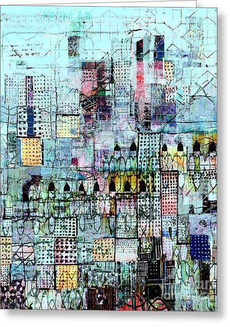 Blue Metropolis Greeting Card by Andy  Mercer