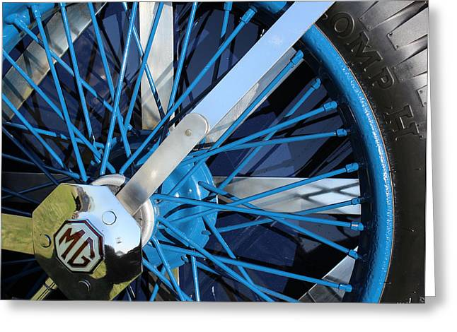 Blue Mg Wire Spoke Rim Greeting Card by Mark Steven Burhart