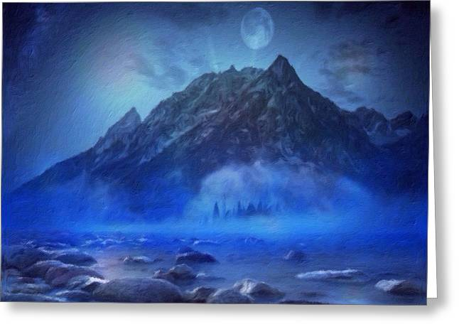 Greeting Card featuring the digital art Blue Mist Rising by Mark Taylor