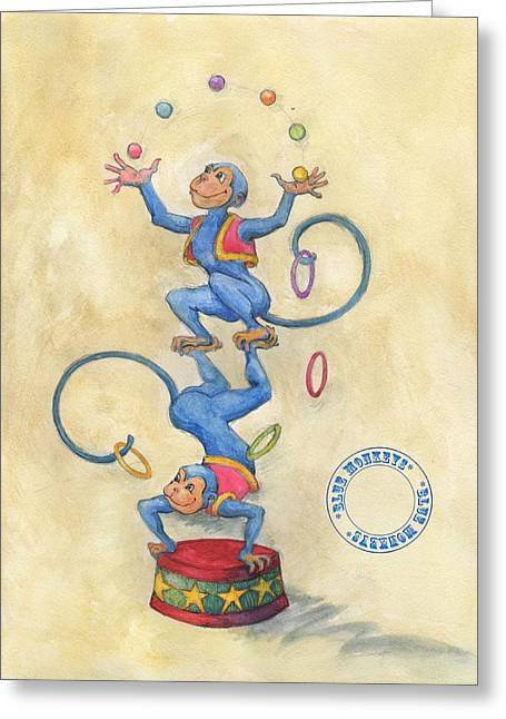 Greeting Card featuring the painting Blue Monkeys by Lora Serra