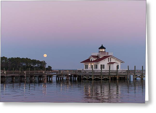 Blue Moon At Roanoke Marshes Lighthouse Greeting Card