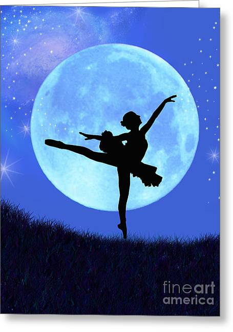 Blue Moon Ballerina Greeting Card by Alixandra Mullins